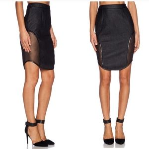 Asilio Night of the Hunter mesh faux leather skirt